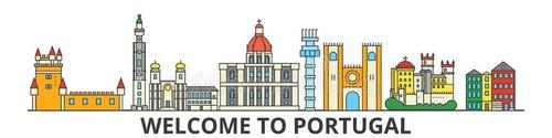 葡萄牙概述地平线,葡萄牙平的稀薄的线象,<span style='color:red;'>地标</span>,例证-葡萄牙都市风景,葡萄牙语-102925933.jpg