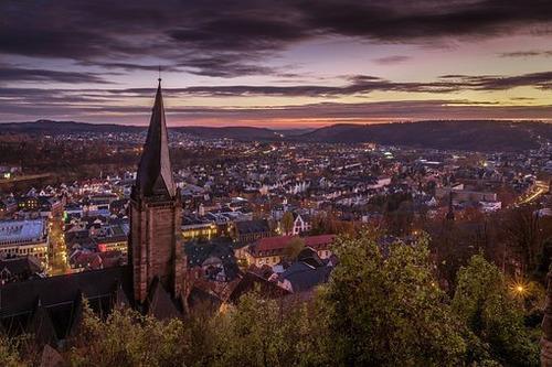 马尔堡, 德国, 局域网, 城堡, Hesse, 体系结构, 城市的景色